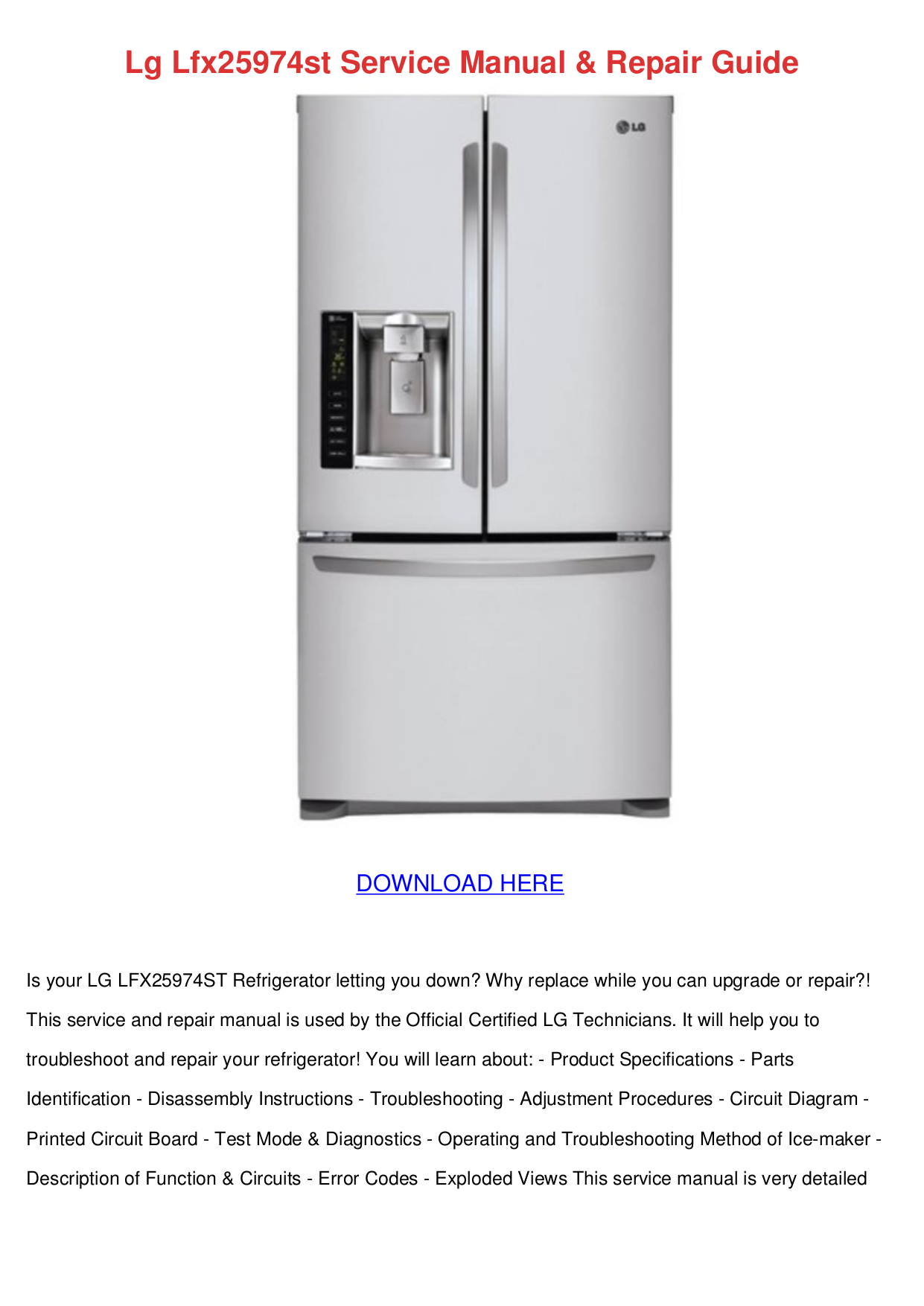 Download Free Pdf For Lg Lfx25974st Refrigerator Manual Schematics