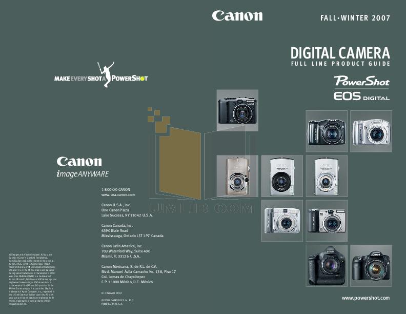 pdf for Canon Digital Camera Powershot SD1000 manual