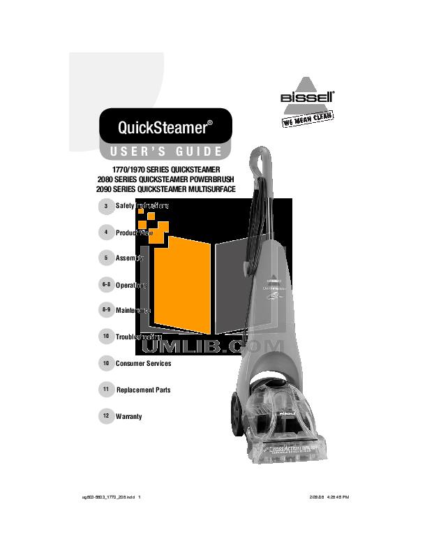 pdf for Bissell Vacuum 2090 manual