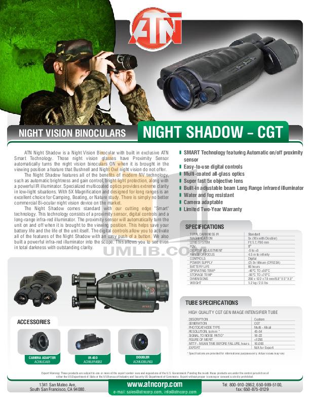 pdf for Atn Binocular Night Shadow CGT manual
