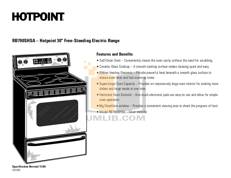 Hotpoint Range RB790SHSA pdf page preview