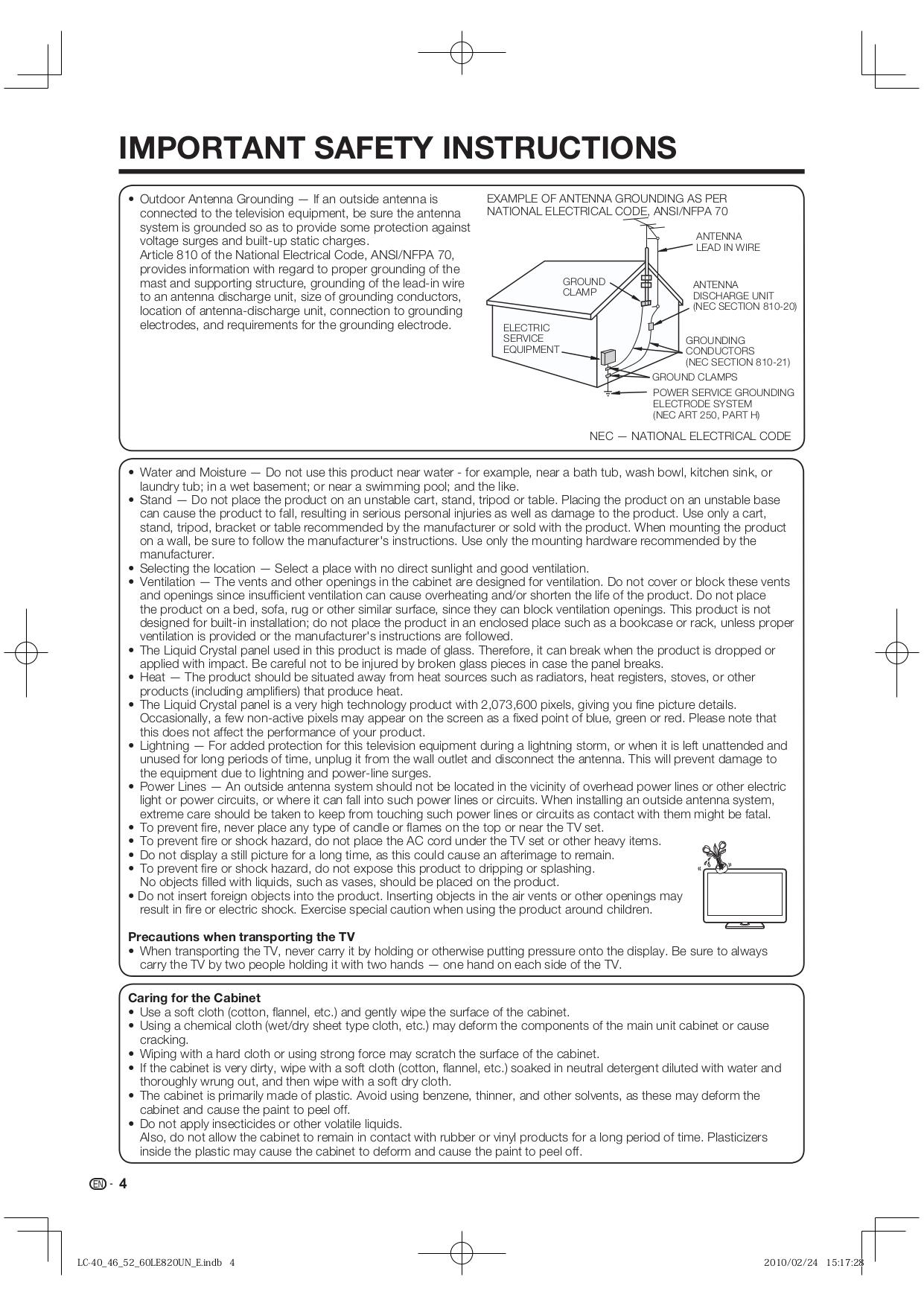 ... Sharp LCD TV AQUOS LC-52LE820UN pdf page preview ...