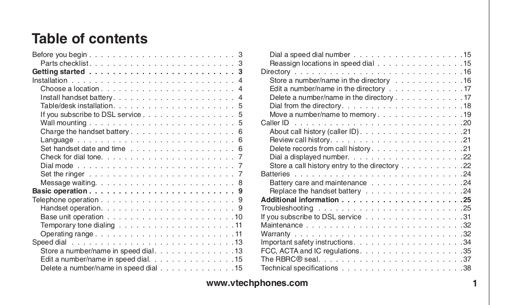 Download Free Pdf For Vtech T2326 Telephone Manual