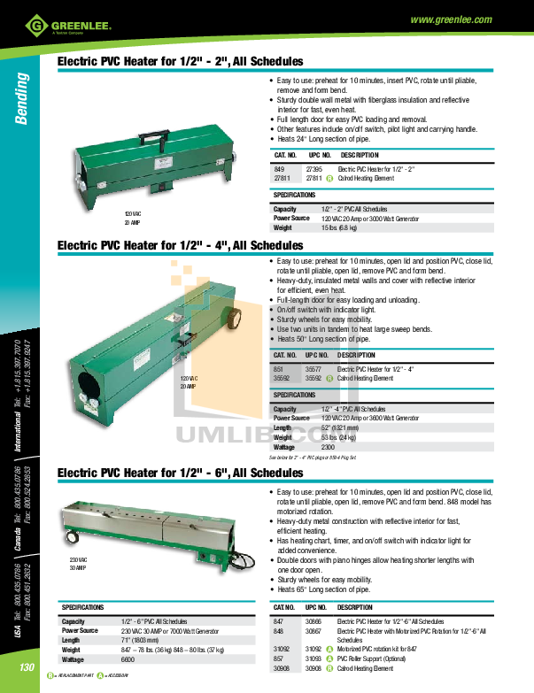 pdf for Greenlee Heater 847 manual