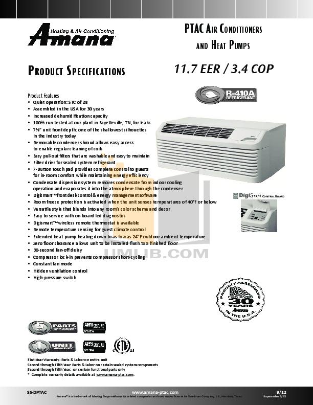 Download Free Pdf For Amana Digismart Pth154e50axxx Air
