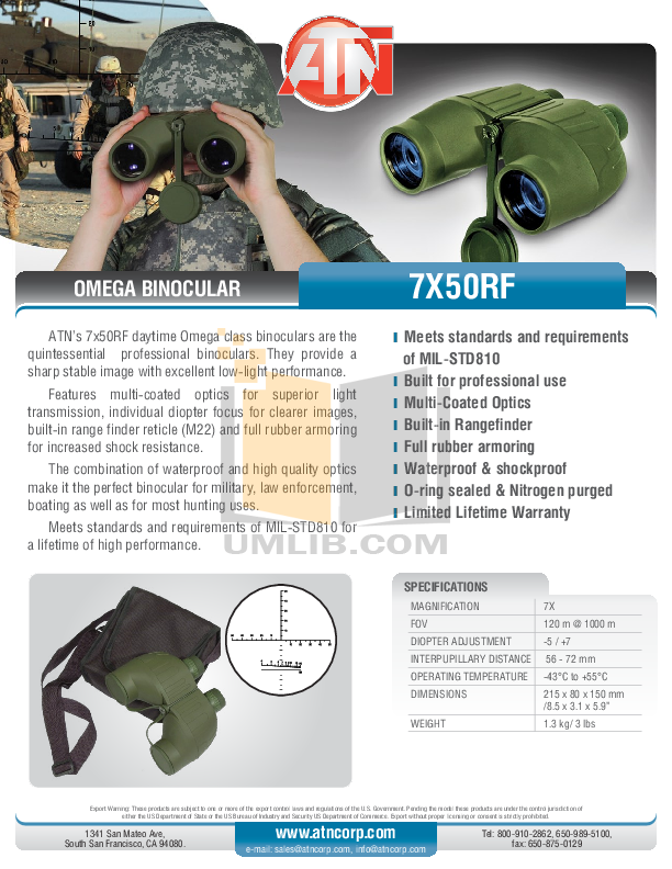 pdf for Atn Binocular Omega 7X50RF manual