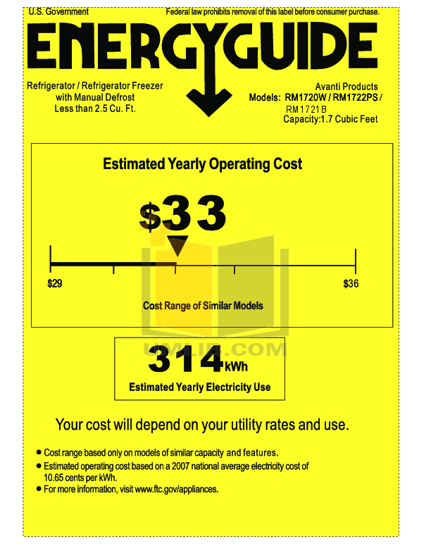 pdf for Avanti Refrigerator RM1721B manual