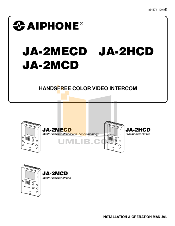 pdf for Aiphone Other MK-2HCD Intercoms manual