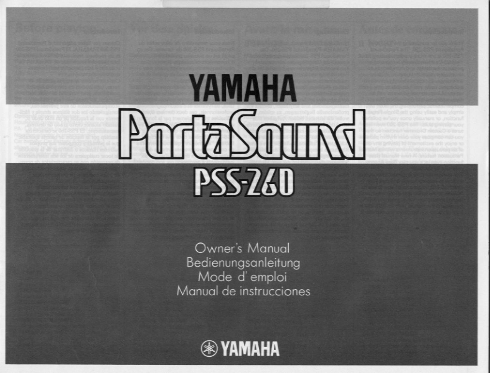 pdf for Yamaha Music Keyboard PSS-260 manual