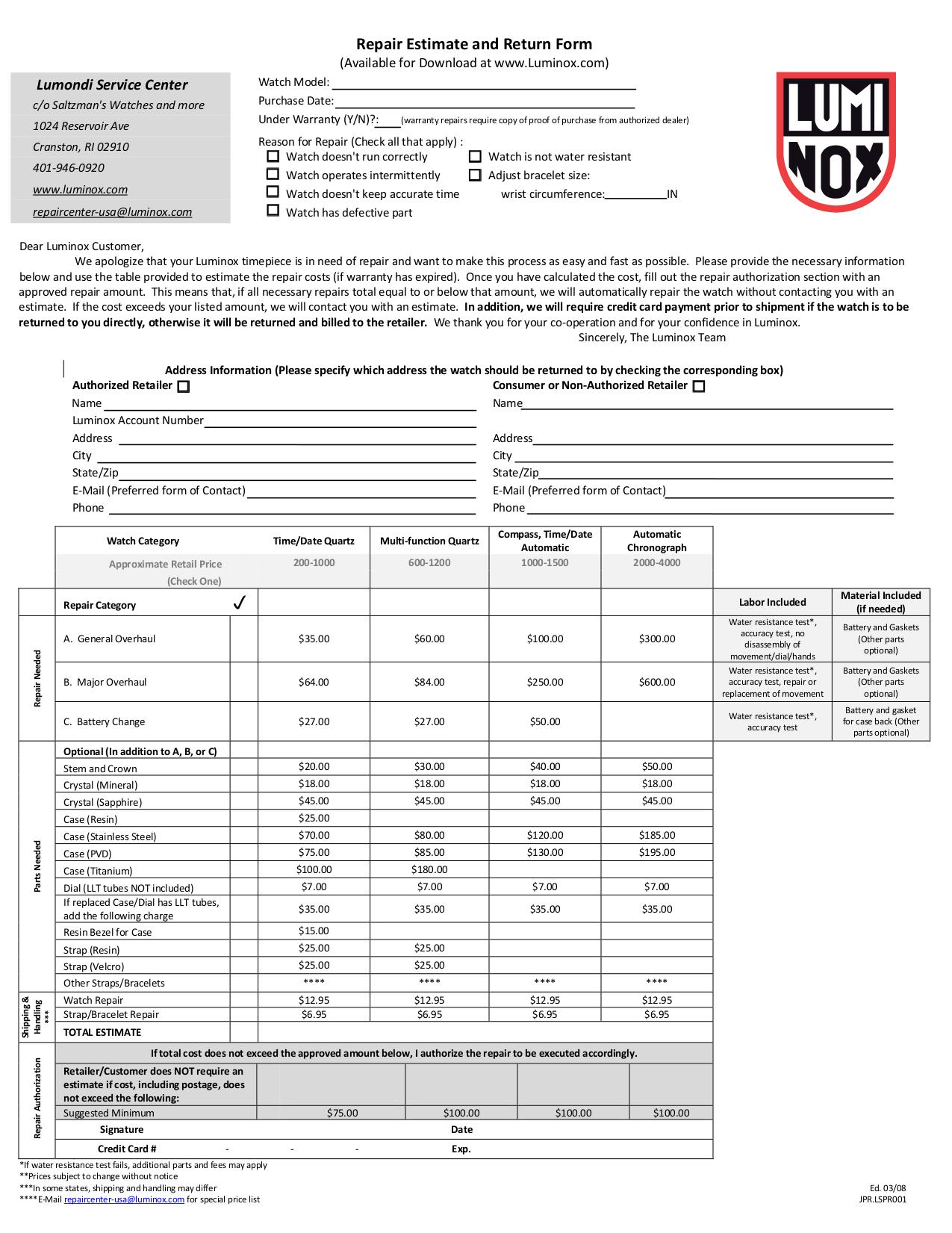 pdf for Luminox Watch 8815 manual