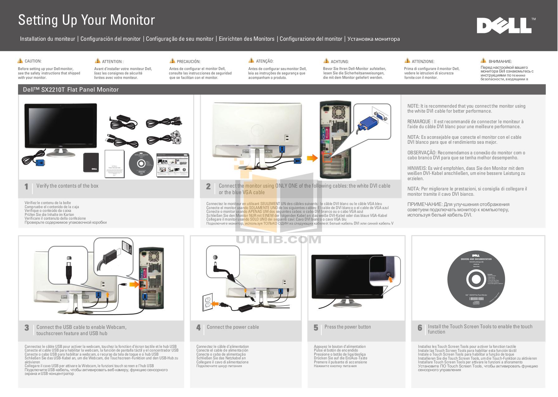 pdf for Dell Monitor SX2210T manual