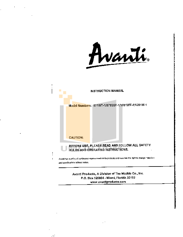 pdf for Avanti Refrigerator 871SST-1 manual