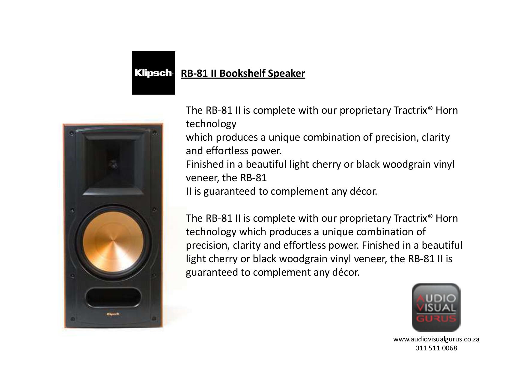 Klipsch Speaker RB 51 Pdf Page Preview