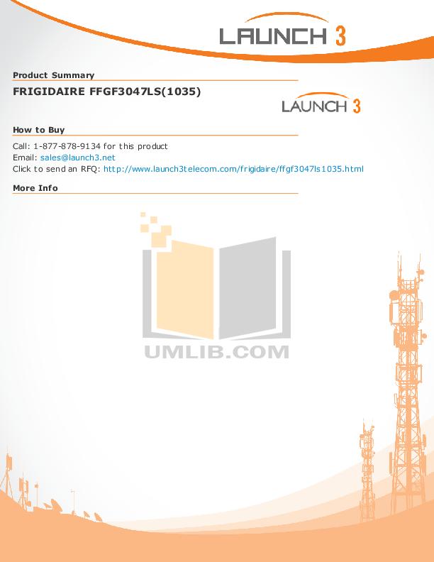 pdf for Frigidaire Range FFGF3047LS manual