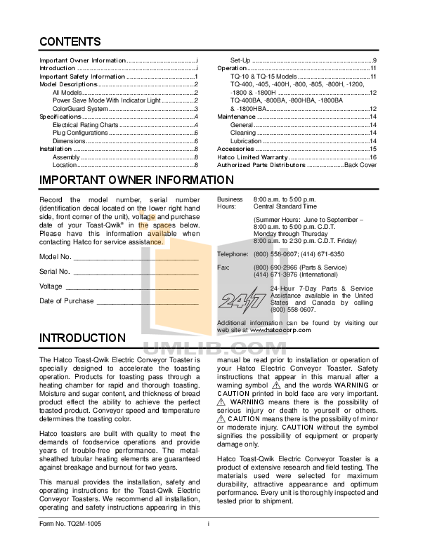 Hatco Other FR-4 pdf page preview