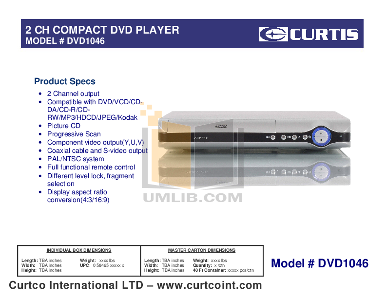 pdf for Curtis DVD Players DVD1046 manual