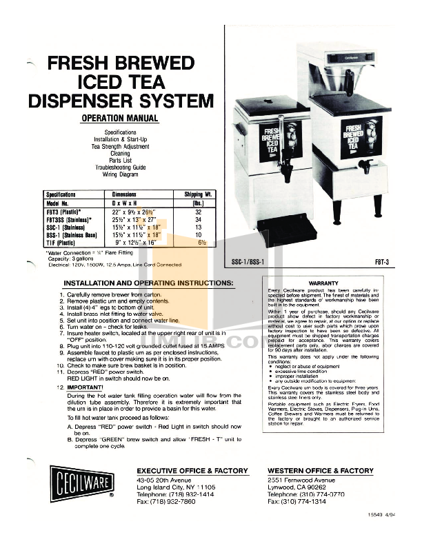 pdf for Cecilware Other BSS-1 Dispensers manual