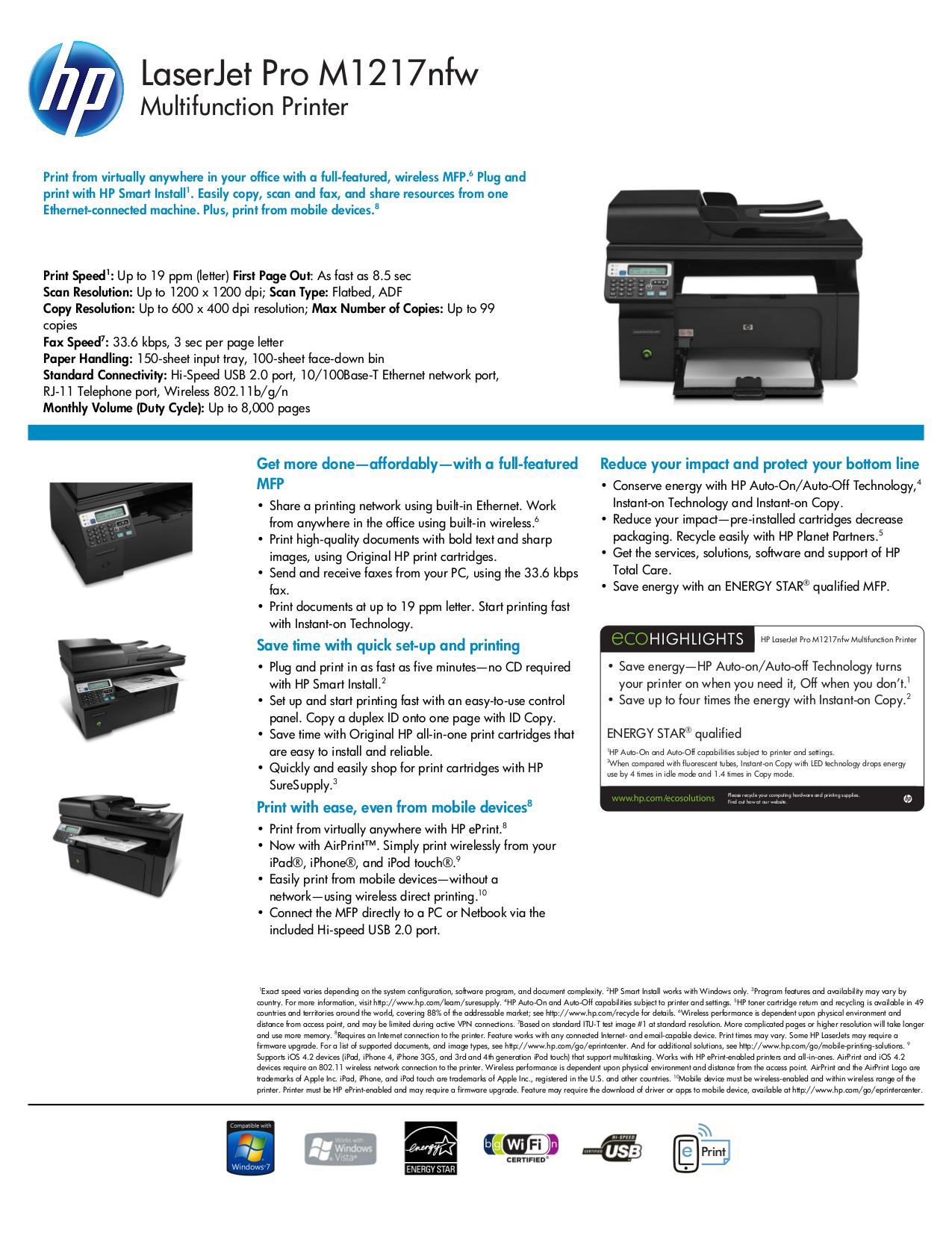 pdf for HP Multifunction Printer Laserjet,Color Laserjet M1217nfw manual