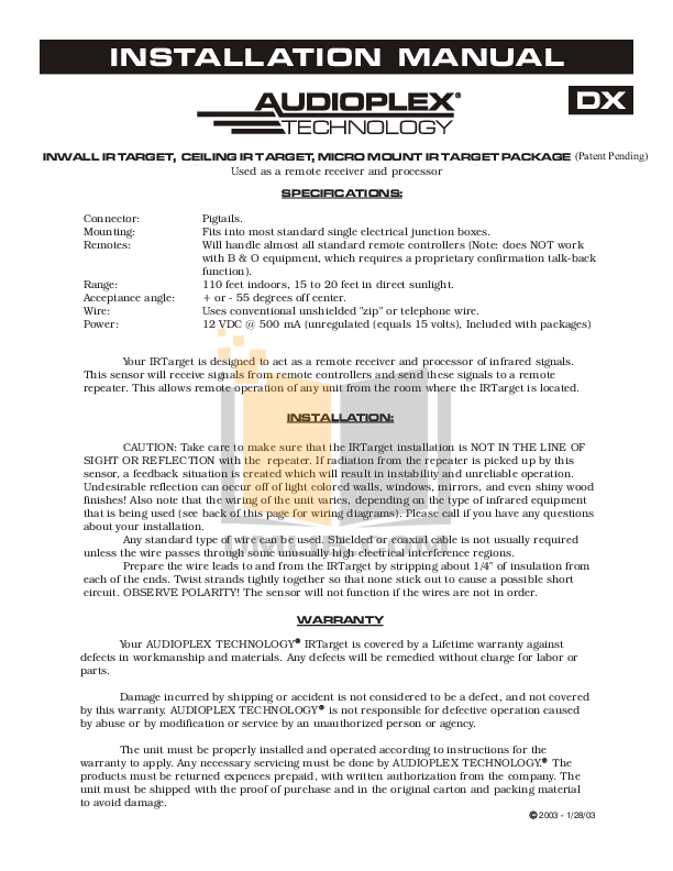 pdf for Audioplex Other IRBug Emitters manual