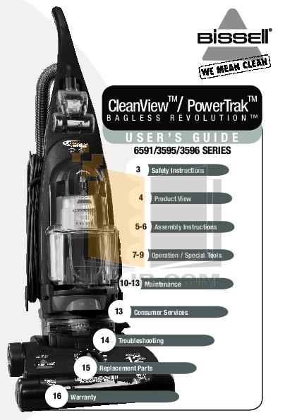 pdf for Bissell Vacuum 3596 manual