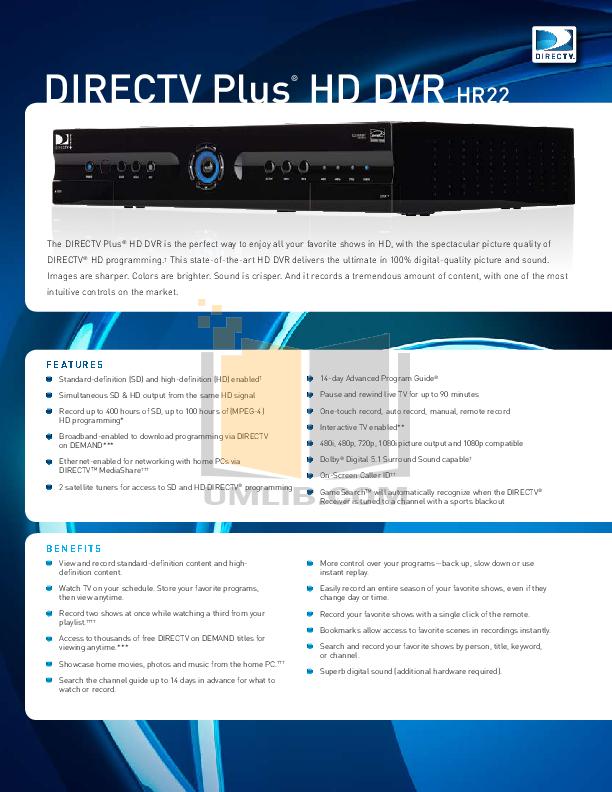 pdf for DirecTV DVR H20 manual