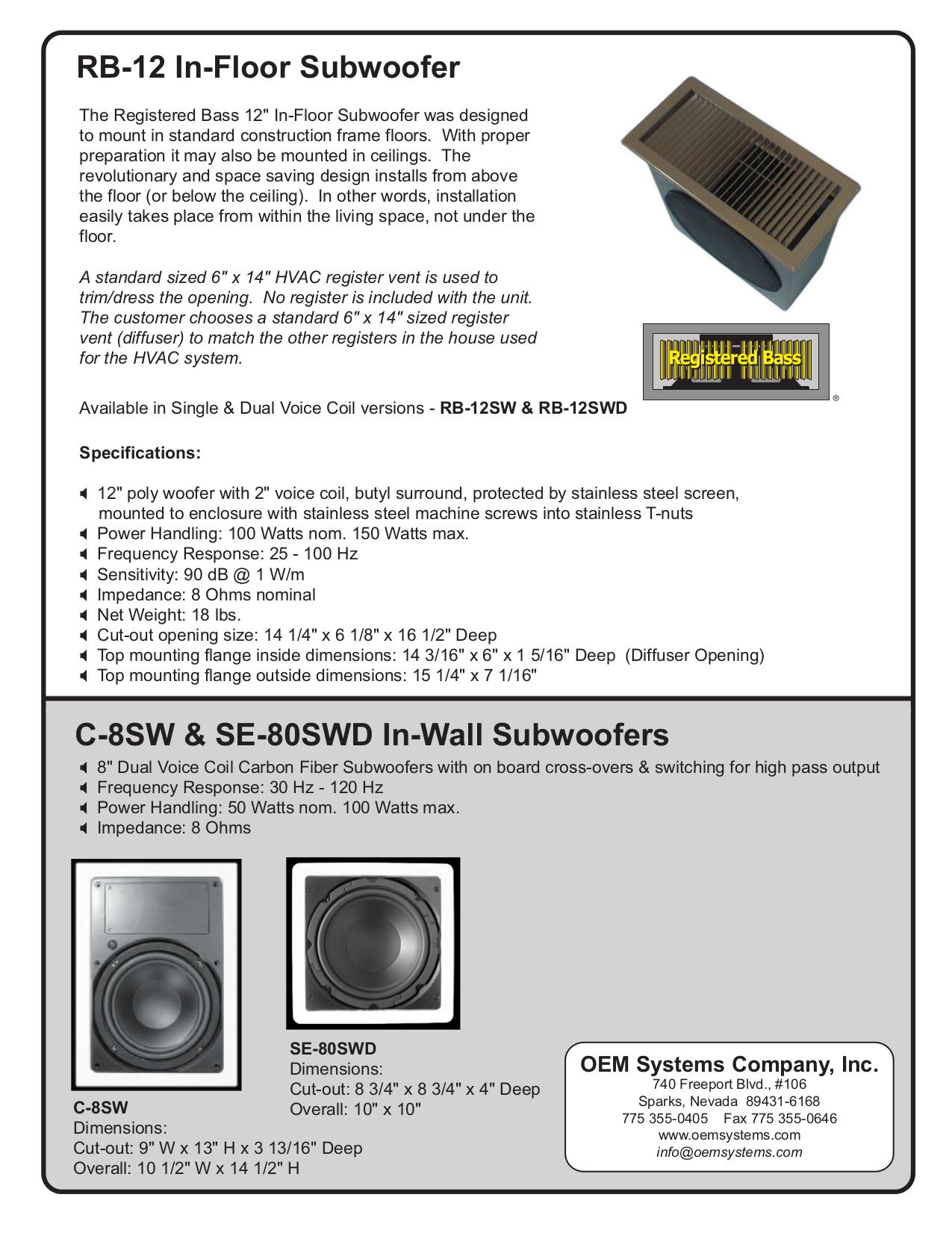 pdf for OEM Subwoofer SE-80SWD manual