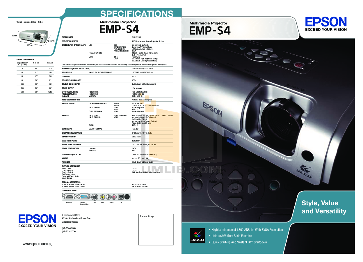 pdf for Epson Projector EMP-S4 manual