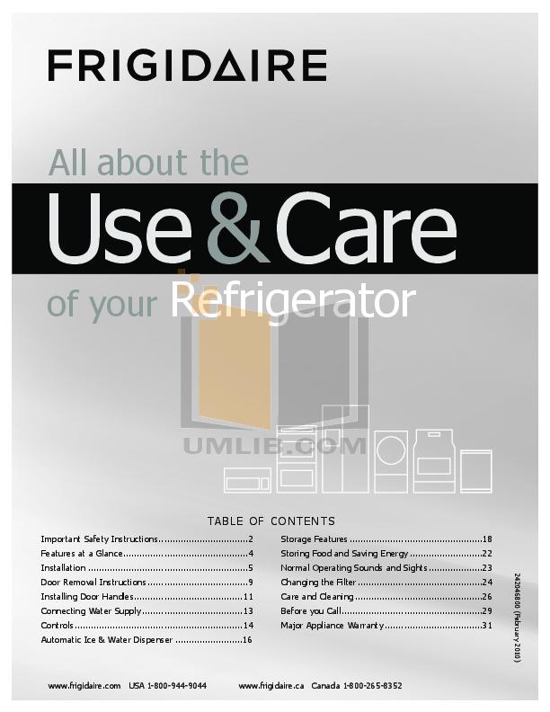 pdf for Frigidaire Refrigerator PLHS269ZDBF manual