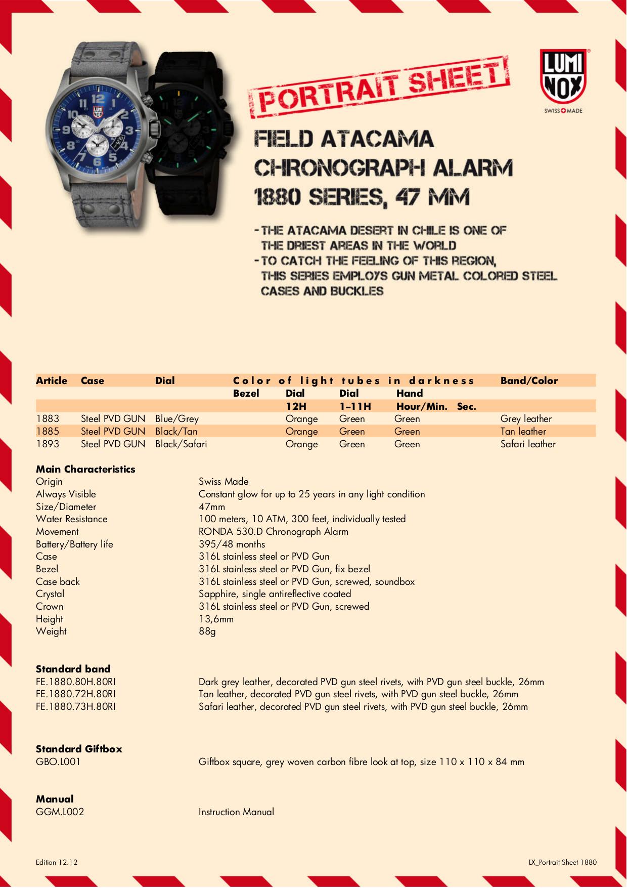 pdf for Luminox Watch 1893 manual