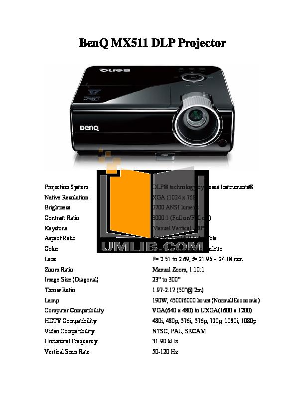 pdf for Benq Projector MX511 manual