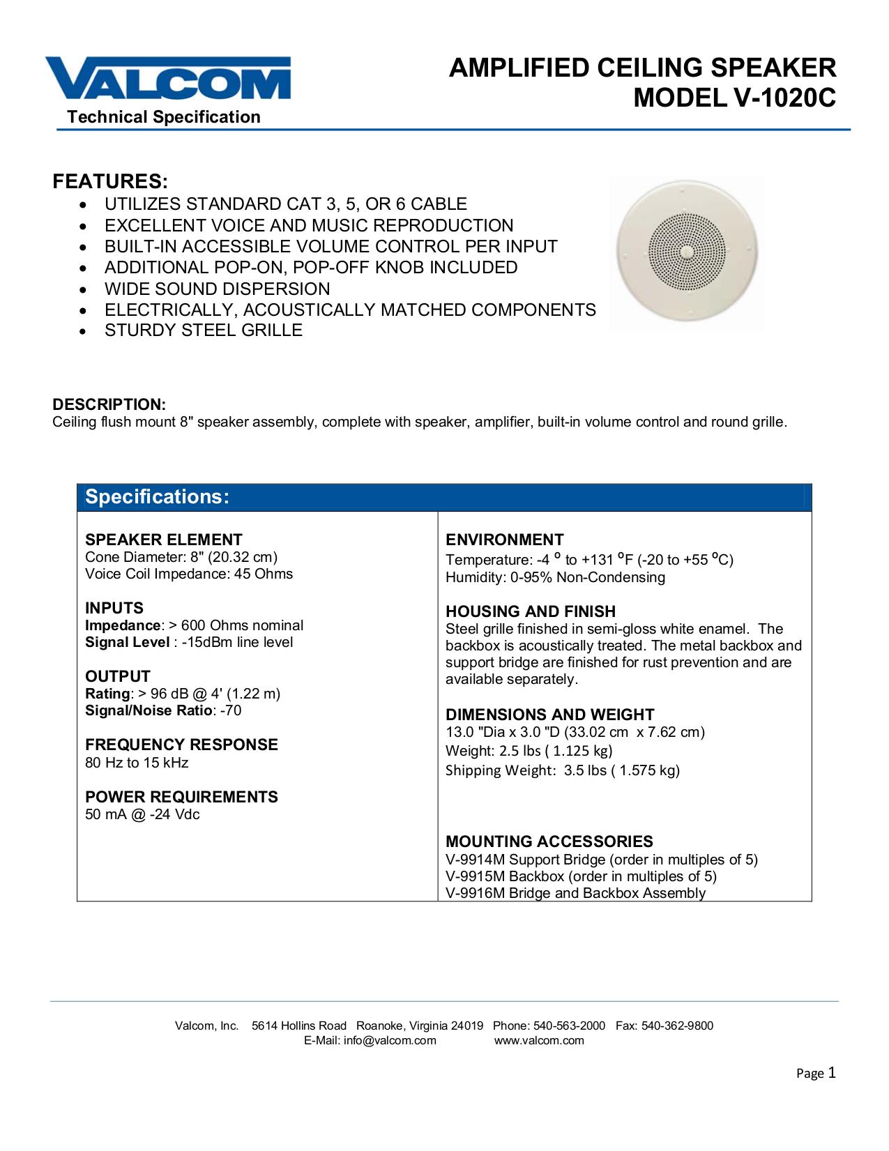 pdf for Valcom Speaker V1020C manual