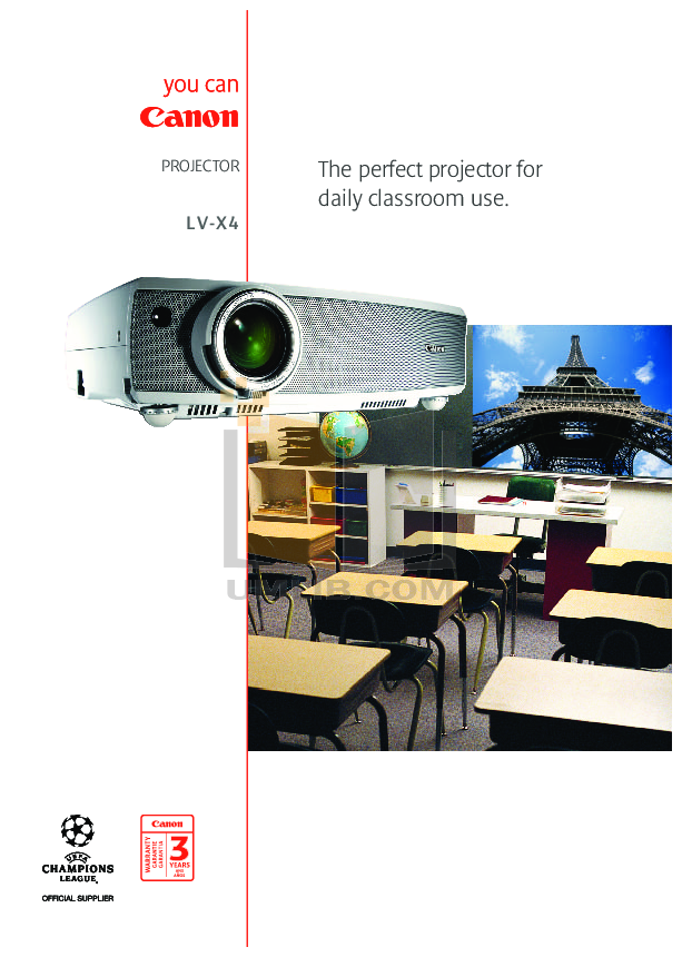 pdf for Canon Projector LV-X4 manual