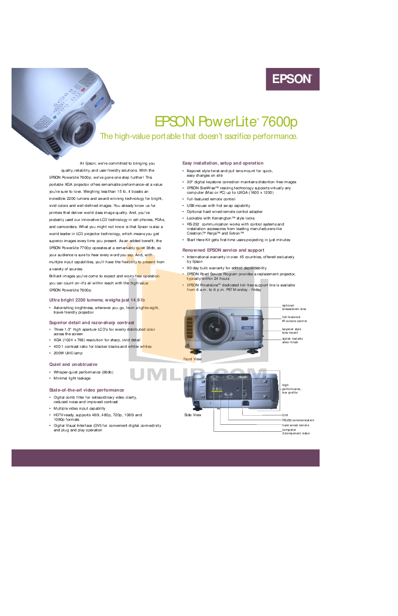pdf for Epson Projector EMP-7600 manual