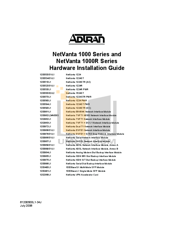 pdf for ADTRAN Switch NetVanta 1224STR manual
