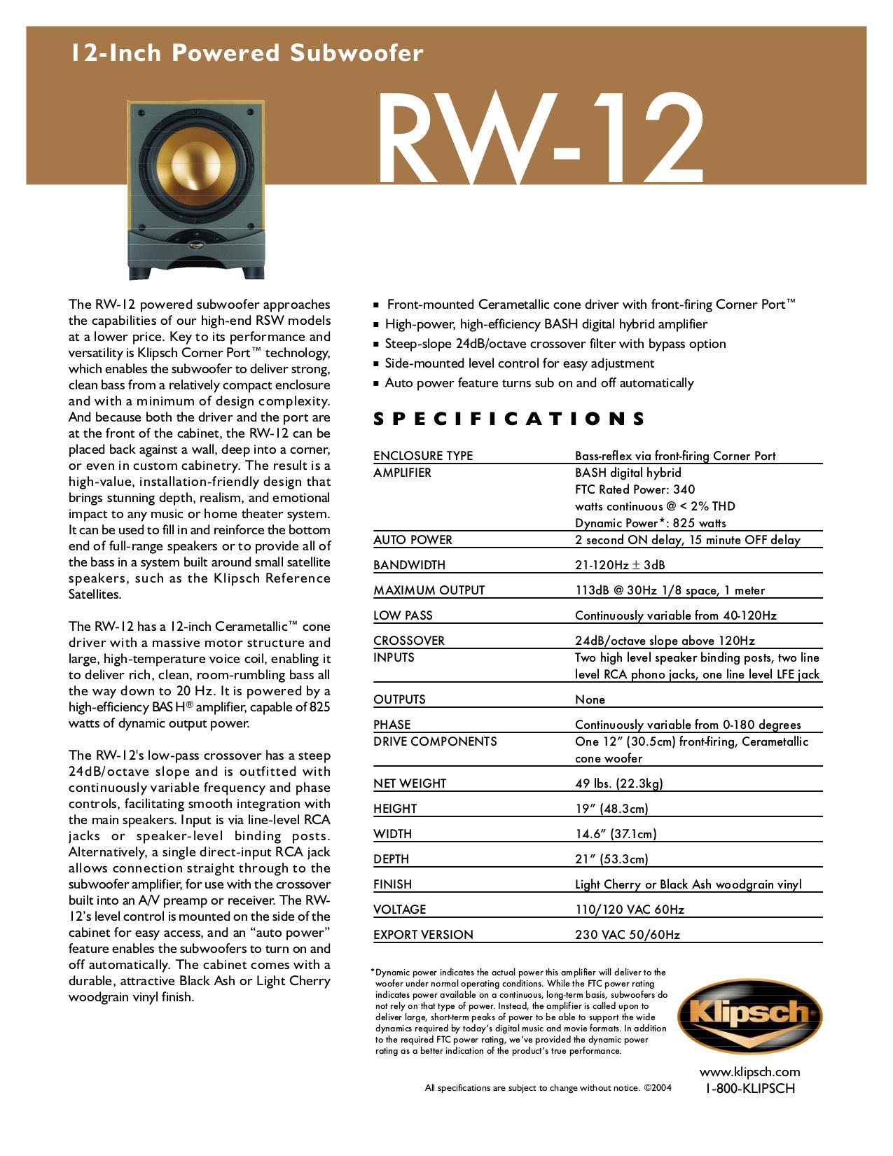 pdf for Klipsch Subwoofer RSW-12 manual