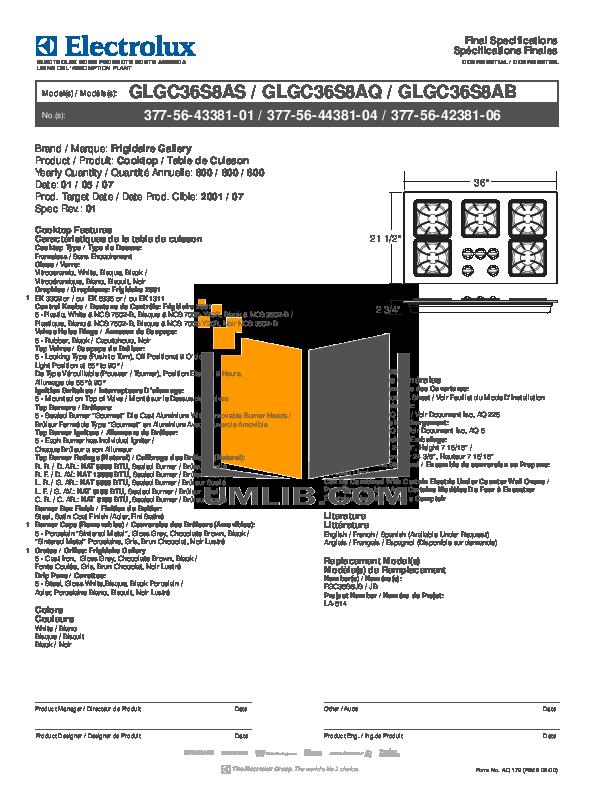 pdf for Frigidaire Range GLGC36S8AQ manual