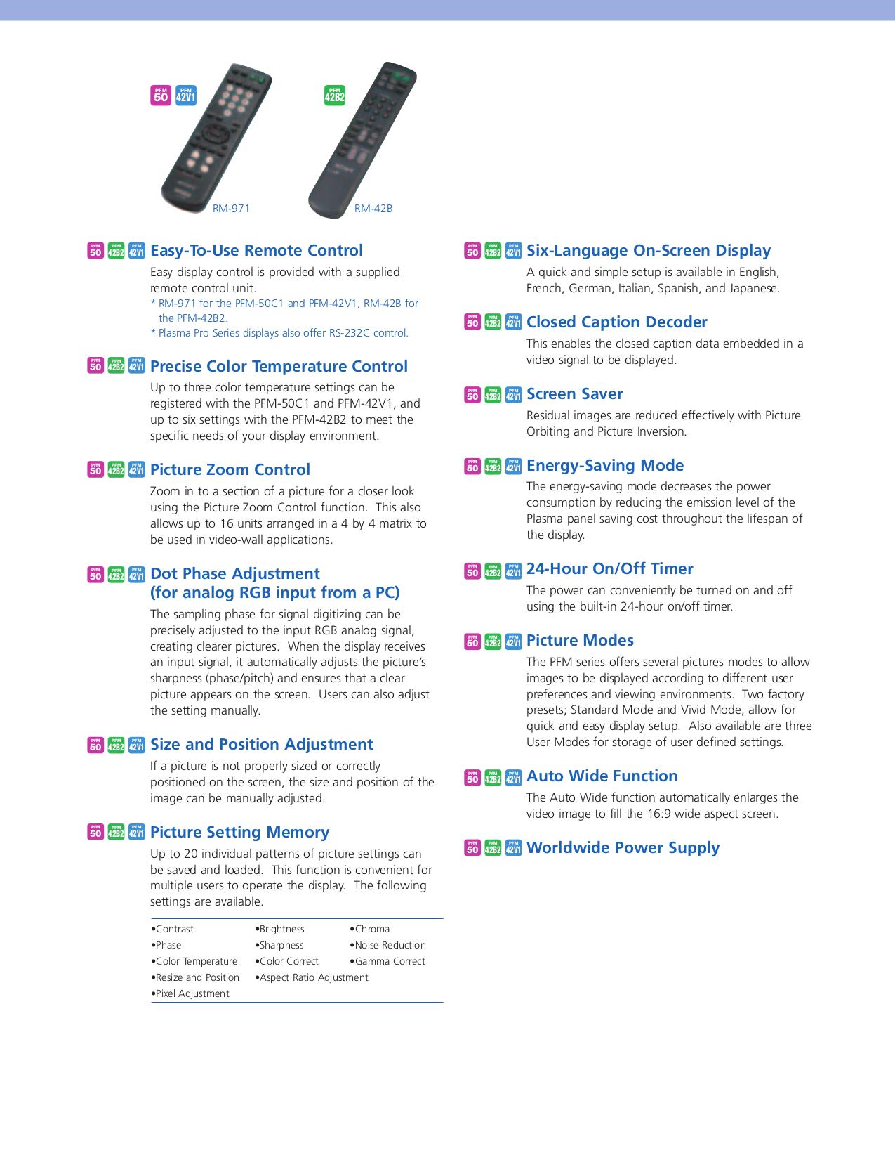 PDF manual for Sony TV PFM-42B2H