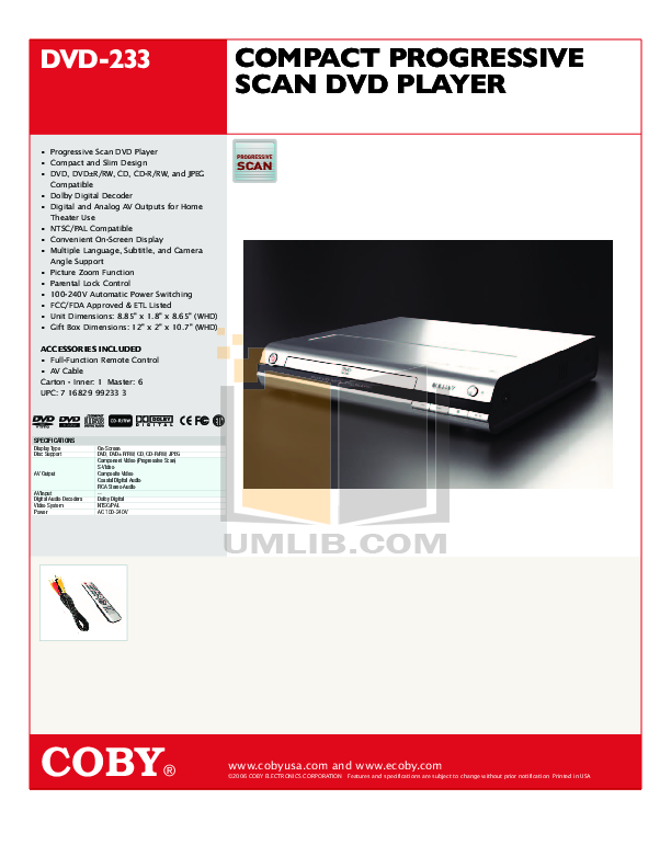 download free pdf for coby dvd 233 dvd players manual rh umlib com Coby VHS Coby VHS