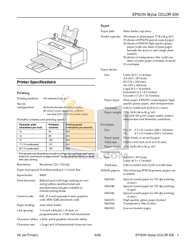 pdf for Epson Printer Stylus Color 500 manual