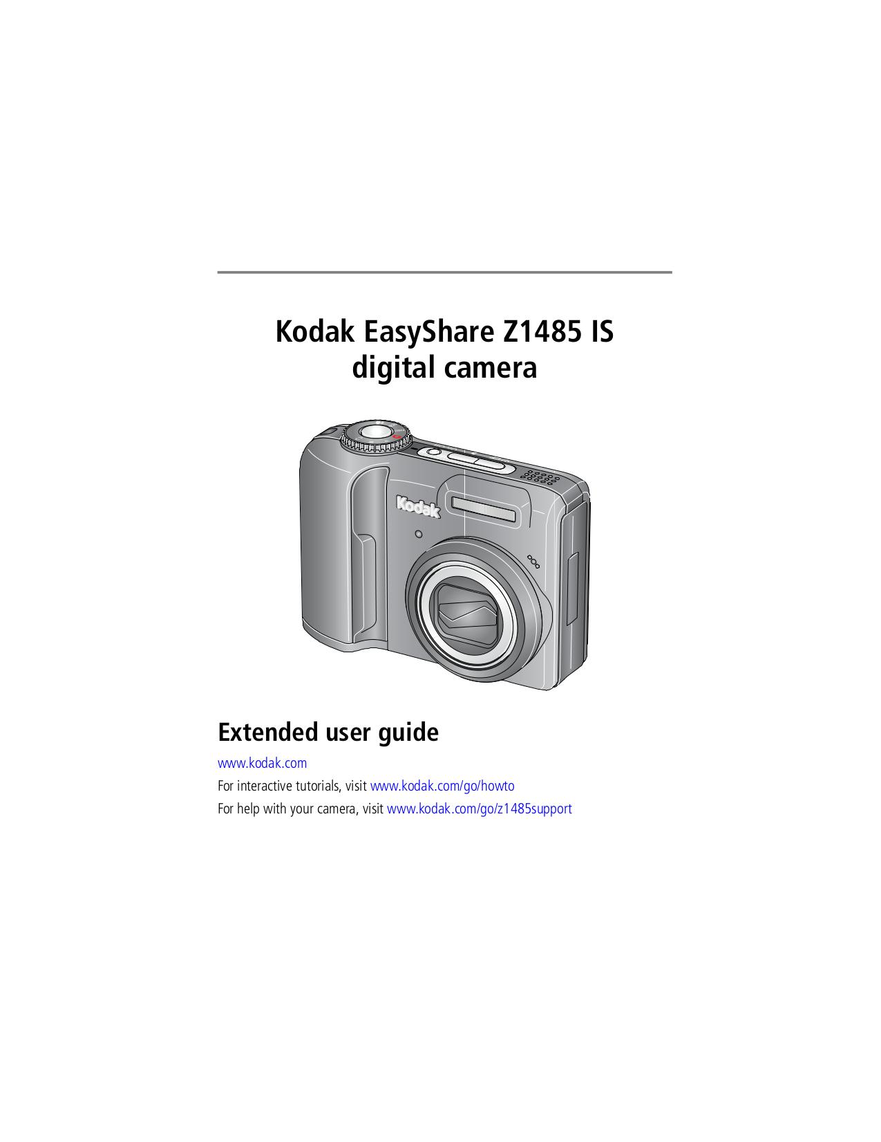 pdf for Kodak Digital Camera EasyShare Z1485 manual