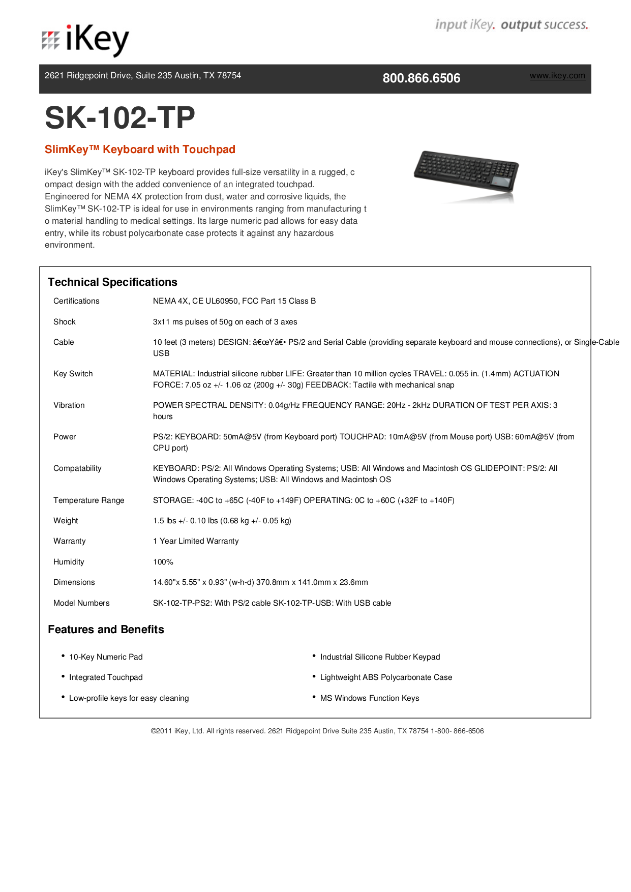 pdf for iKey Keyboard SK-102-TP manual