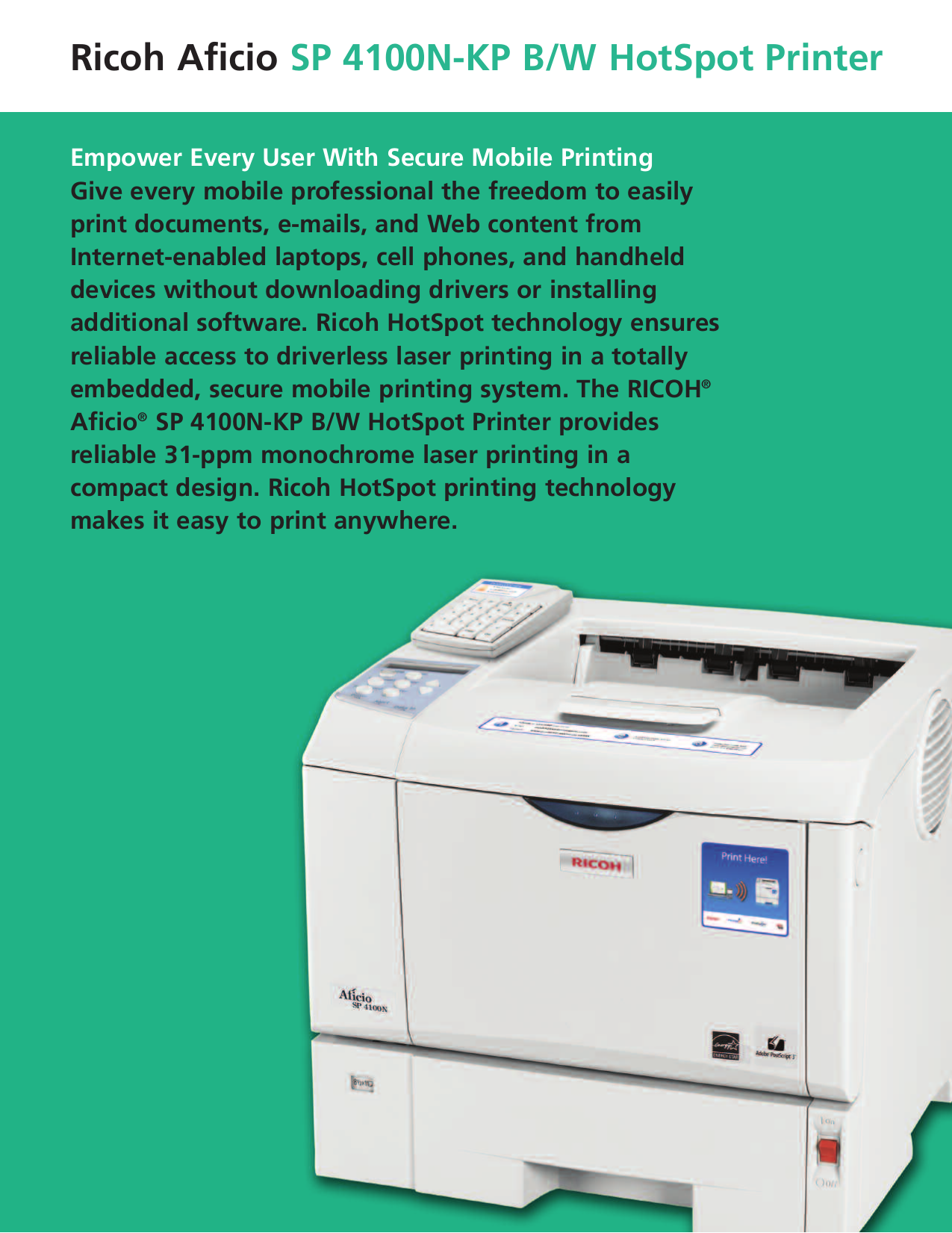 ... Ricoh Printer Aficio SP 4100N pdf page preview ...