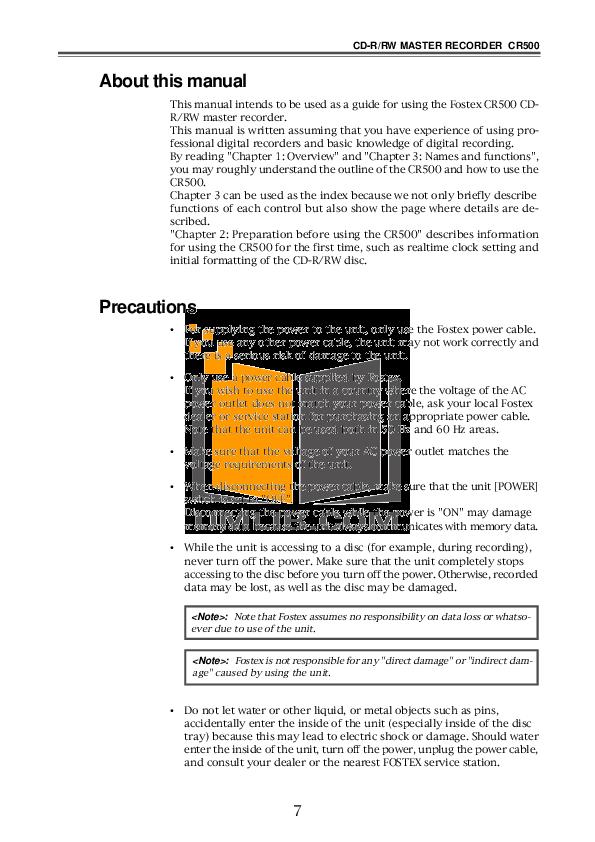 fostex mr 8 manual pdf