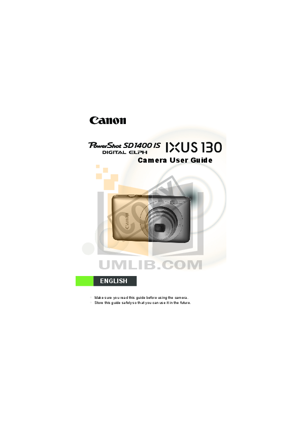pdf for Canon Digital Camera Powershot SD1400 IS manual