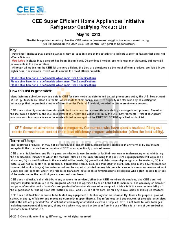 pdf for Frigidaire Refrigerator Gallery FGHS2669K manual