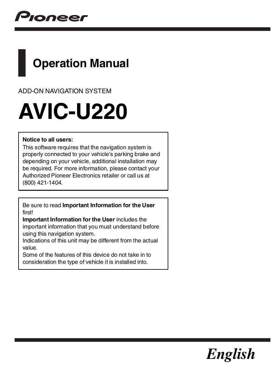 pdf for Pioneer GPS AVIC-U220 manual