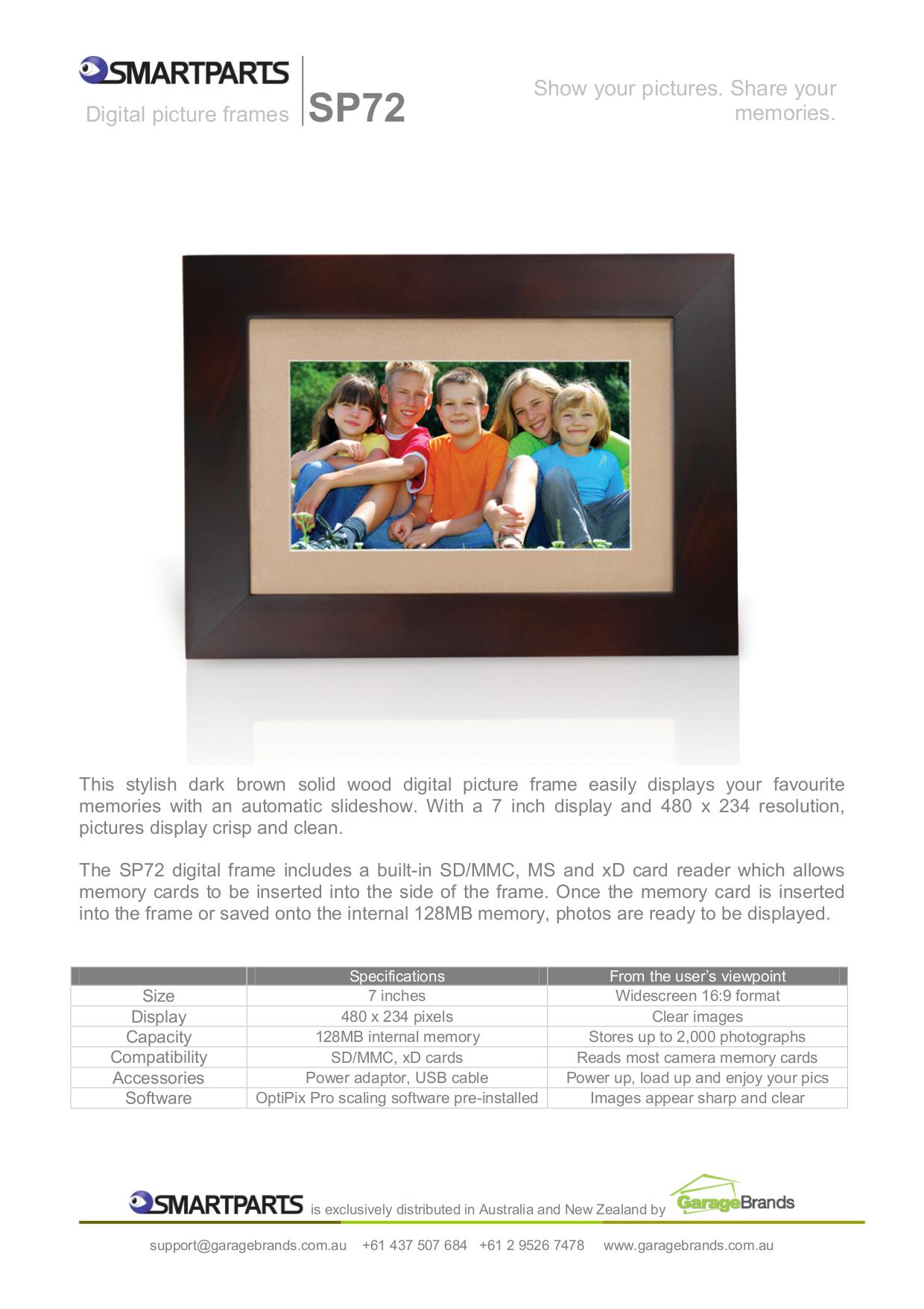 Download free pdf for Smartparts Optipix SP72 Digital Photo Frame manual