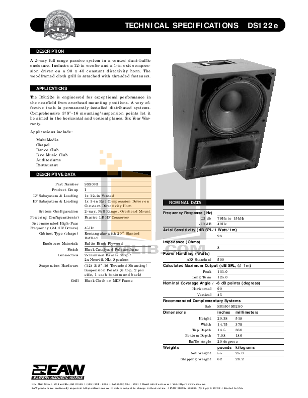 pdf for Eaw Speaker System DS122e manual