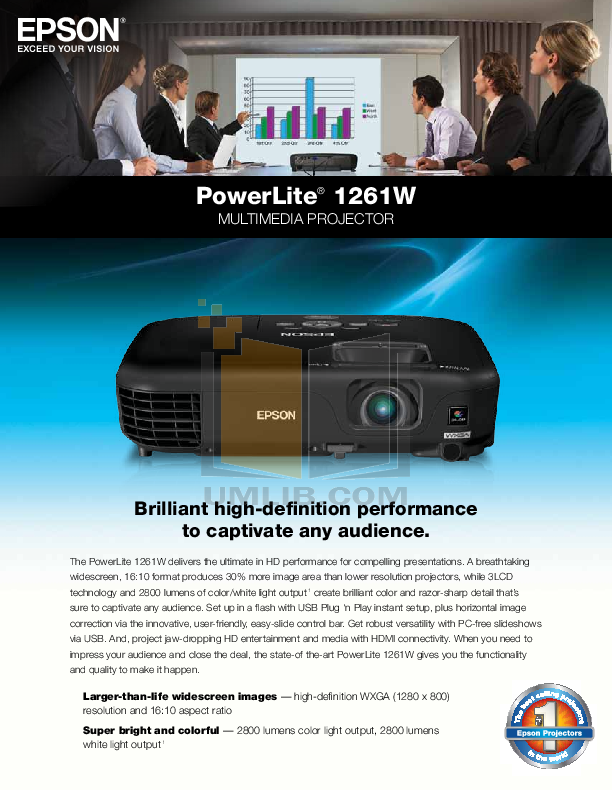 pdf for Epson Projector PowerLite 1261W manual