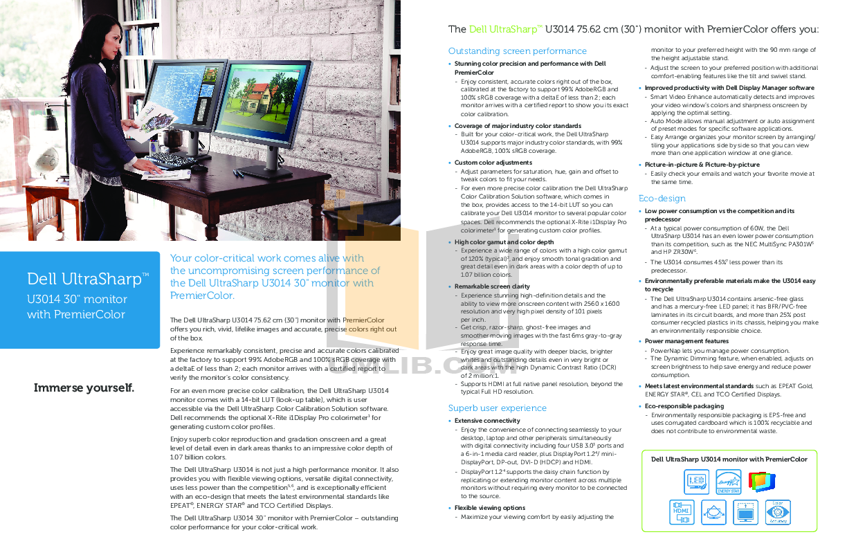 ... Dell Monitor UltraSharp 3007WFP-HC pdf page preview
